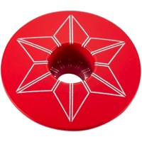 Supacaz Star Capz Headset Top Cap - 1 1/8 Inch (Red Powder Coated)