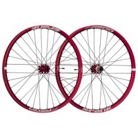 "Spank Oozy Trail 345 27.5"" Wheelset - Front 32h, 15x100mm TA / Rear 32h, 12x142mm TA, Shimano HG (Red)"