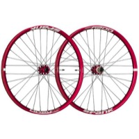 "Spank Oozy Trail 395+ ""Boost"" 27.5"" Wheelset - Front 15x110 TA / Rear 12x148 TA, Shimano HG (Red)"