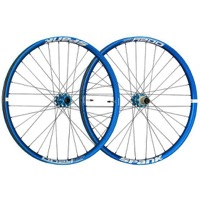 "Spank Oozy Trail 395+ ""Boost"" 29"" Wheelset - Front, 15x110mm TA / Rear, 12x148mm TA, Shimano HG (Blue)"