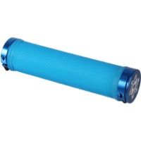 Supacaz Rad Lock-On Grips - Pair (Blue Clear Grips/Blue Clamps)