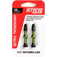 Stans Alloy Tubeless Valve Stems - 35mm Pair (Green)