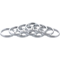 "Problem Solvers Alloy Headset Spacers - 1 1/8"" x 5mm, Bag of 10 (Silver)"