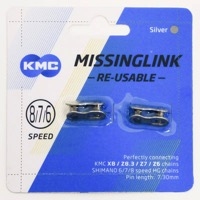 KMC Missing Link Connectors - MissingLink 7.3 6-8sp Chain, Re-usable (2/Card)