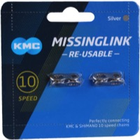 KMC Missing Link Connectors - MissingLink-10R 10sp Chain, KMC/Shimano/Sram, Re-usable (2/Card)