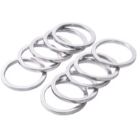 "Wheels Manufacturing Alloy 1"" Headset Spacers - 1"" x 2.5mm Bag of 10 (Silver)"