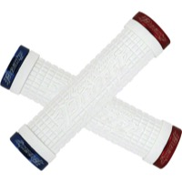 "Lizard Skins Peaty ""Cheers"" Lock-On Grips  - 130mm (White Grips/Red and Blue Clamps)"