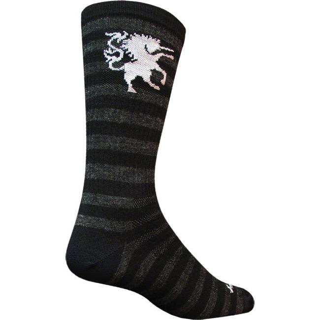 SockGuy Mens Lightning Wool Sock Black//White Large//X-Large