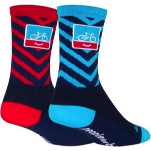 SockGuy People For Bikes Crew Socks - Blue/Red