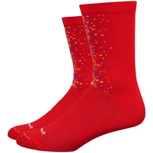"DeFeet Aireator 6"" Barnstormer Splatter Socks - Red/Multi-Color"