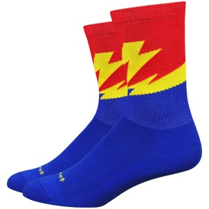 "DeFeet AirEator 5"" Flash Socks - Blue/Red/Yellow"