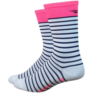 "DeFeet Aireator 6"" Sailor Socks - Whit/Navy/Pink"