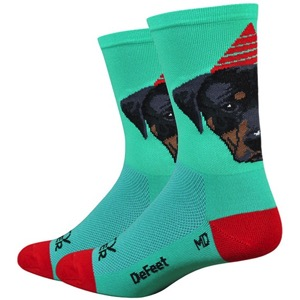 "DeFeet Aireator 6"" Party Pupper Socks - Green/Red"