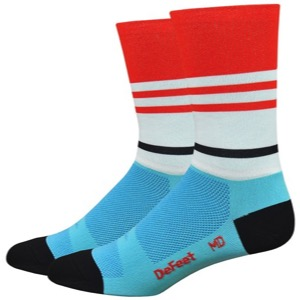 "DeFeet Aireator 6"" Barnstormer Vintage Jersey Sock - Red/White/Blue"