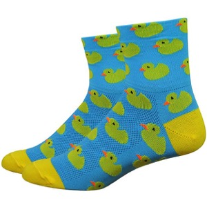 "DeFeet AirEator 3"" Rubber Ducky Womens Socks - Blue/Yellow"