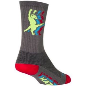 SockGuy Kat-Fu Crew Socks - Grey/Yellow/Blue/Red