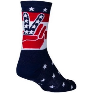 SockGuy Peace USA Crew Socks - Red/White/Blue