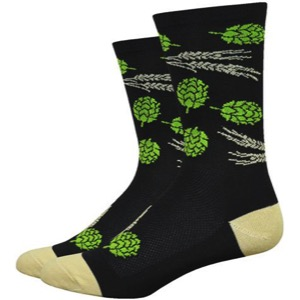 "DeFeet Aireator 6"" Hops and Barley Socks - Black/Gold"