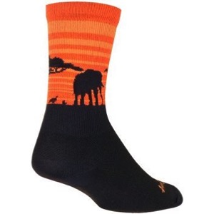 SockGuy Serengeti Crew Socks - Black/Orange