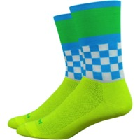 "DeFeet Aireator 6"" Victory Socks - Hi-Viz Yellow/Green/Blue"