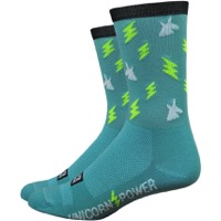 "DeFeet Aireator 6"" Moxy & Grit Unicorn Power Socks - Teal"