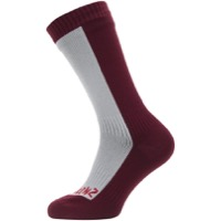 Seal Skinz Cold Weather Mid Hydrostop Socks - Gray/Red