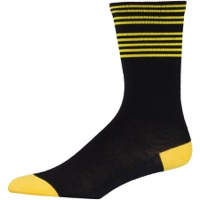 45NRTH Lightweight Wool Socks - Black/Citron Stripe