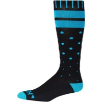 45NRTH Midweight Knee Wool Socks - Black/Cyan Spots