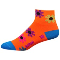 "DeFeet AirEator 2"" Flower Power Womens Socks - Hi-Vis Orange"