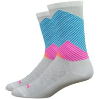 "DeFeet Aireator 6"" Color Mountain Socks - White/Blue/Pink"