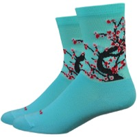 "DeFeet Aireator 4"" Blossom Womens Socks - Neptune/Black/Red"