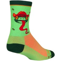 SockGuy Ribbit Crew Socks - Green/Red/Orange
