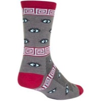 SockGuy All Eyes On Me Crew Socks - Grey/Burgundy