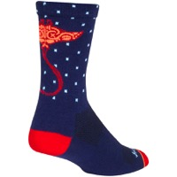SockGuy Ray Crew Socks - Blue/Orange/Red
