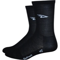"DeFeet AirEator 5"" Logo High Top Socks - Black"