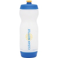 Clean Bottle Dual Cap Water Bottle - Clear/Blue