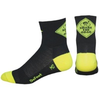 "DeFeet AirEator 3"" Share the Road Socks - Black/Neon Green"