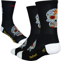 "DeFeet AirEator 5"" Sugarskull Socks - Black/White"