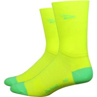"DeFeet AirEator 5"" D Logo High Top Socks - Yellow/Green"
