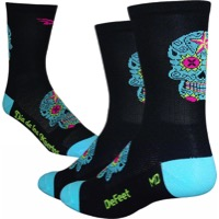 "DeFeet AirEator 5"" Sugarskull Socks - Black/Blue"