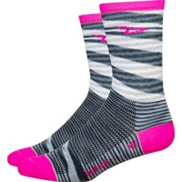 "DeFeet Aireator 5"" D Logo Socks - Urban/Pink Stripe"