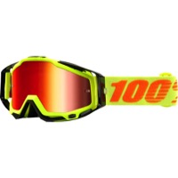 100% RaceCraft Goggles - Attack Yellow/Mirror Red Lens