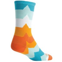 SockGuy EKG Crew Socks - Blue/Orange