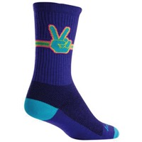 SockGuy Peace Out Crew Socks - Purple