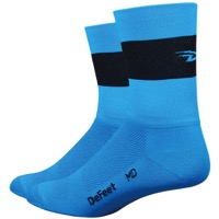 "DeFeet Aireator 5"" Team-D Socks - Process Blue/Black Stripe"