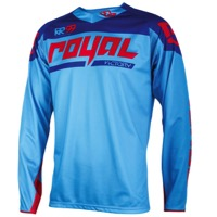 Royal Victory Race LS Jersey - Cyan/Red/Navy