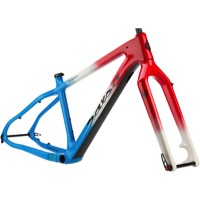 Salsa Beargrease Carbon Frameset 2017 - Red/White/Blue Fade