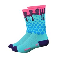 "DeFeet Aireator 6"" Drip Socks - Blue/Plum/Pink"