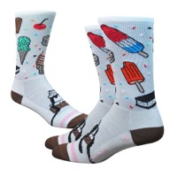 "DeFeet Aireator 6"" iSCREAM Socks - White/Brown/Pink"