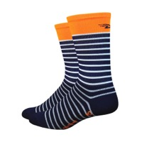 "DeFeet Aireator 6"" Sailor Socks - Navy/White/Hi-Vis Orange"